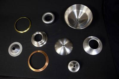 A range of materials Wenzel Metal Spinning can work with: steel, stainless steel, aluminum, brass, copper and galvanized